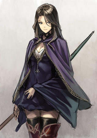 blue_eyes brunette cape dress sketch staff thighhighs // 566x800 // 141.3KB