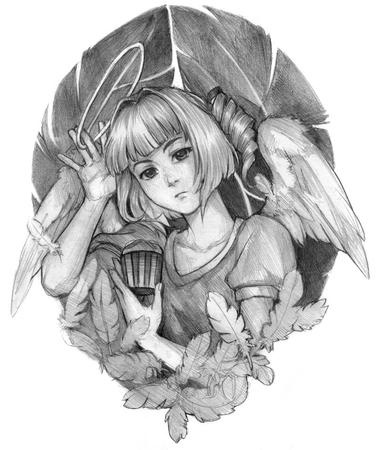 blonde bw cupcake halo sketch wings // 800x955 // 160.6KB