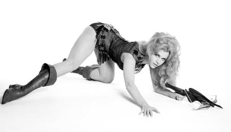 barbarella blonde boots bw crossbow jane_fonda photo // 1600x913 // 114.2KB