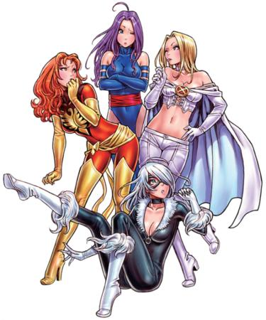 black_cat blonde boots cape cleavage emma_frost group jean_grey marvel phoenix psylocke purple_hair redhead white_hair x-men // 533x640 // 530.8KB