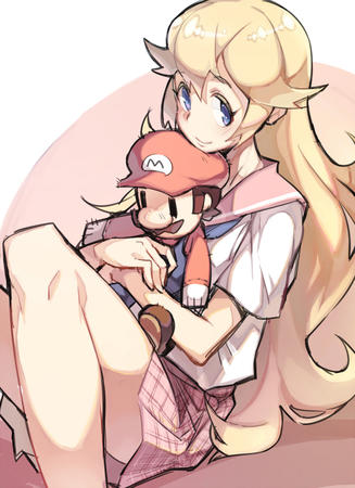 blonde_long_hair blue_eyes mario_brothers nintendo plaid_skirt pleated_skirt princess_peach school_uniform short_skirt skirt // 700x964 // 544.2KB