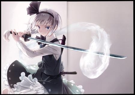 blonde blue_eyes katana skirt sword vest white_hair // 2851x2000 // 5.9MB