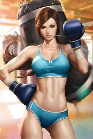 artgerm blue_eyes boxer boxing_gloves brunette hotpants long_hair ponytail short_shorts shorts sports_bra tank_top // 808x1200 // 284.3KB