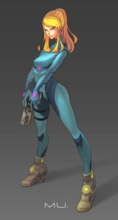 blonde blue_eyes gloves gun high_heels jumpsuit metroid ponytail samus_aran // 900x1674 // 477.1KB