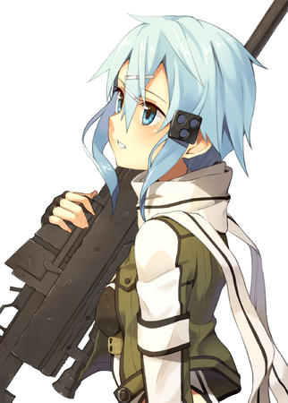 blue_eyes blue_hair gloves jacket rifle scarf sword_art_online // 1500x2099 // 899.4KB