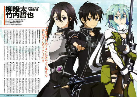 blue_eyes blue_hair brunette group gun jacket long_hair magazine rifle scarf sword sword_art_online // 5779x4087 // 2.5MB