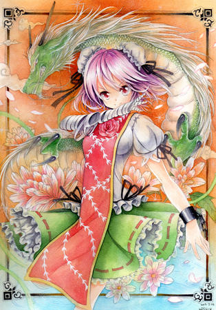 apron bandage dragon dress flower purple_hair // 1047x1500 // 2.3MB