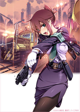 blue_eyes gloves gun jacket necktie rail_wars redhead sakurai_aoi short_skirt skirt train uniform // 605x850 // 322.1KB