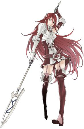 armor belt dress garter_belt gloves long_hair redhead short_skirt spear thighhighs // 702x1080 // 569.6KB