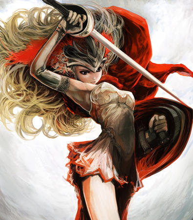 basket_hilt blonde dress gloves helmet long_hair shield sword // 1200x1367 // 846.2KB