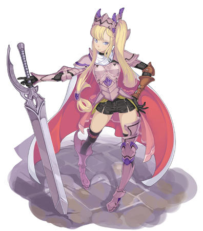 armor blonde blue_eyes cape gloves helmet oversized_weapon shorts sword thighhighs twintails // 1761x2000 // 1013.1KB