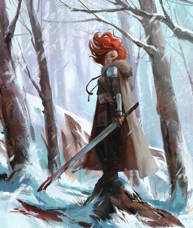 blood cape forest pauldrons redhead snow sword // 898x1061 // 2.3MB