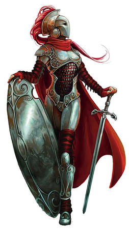 armor cape helmet long_hair paizo redhead shield sword // 449x800 // 92.1KB