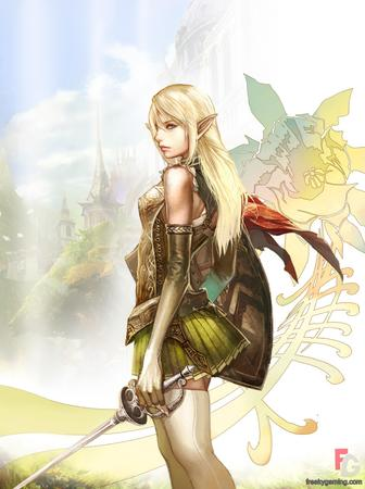 blonde blue_eyes elf gloves shield short_skirt skirt sword thighhighs // 957x1280 // 299.0KB