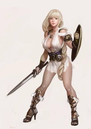 blonde cleavage dress high_heels sandals shield sophitia soul_calibur sword // 800x1132 // 269.5KB