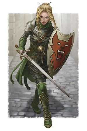 armor blonde chainmail green_eyes shield sword // 640x964 // 208.9KB