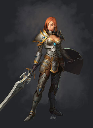 armor cleavage pauldrons redhead shield sword // 581x800 // 54.9KB