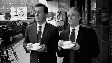 animated bravo bw jon_stewart reaction stephen_colbert tea // 500x282 // 980.1KB