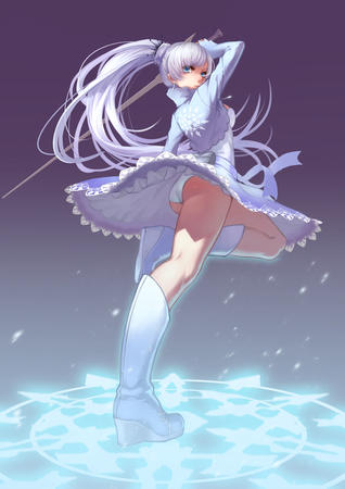 blue_eyes boots dress jacket pantsu ponytail rwby sword // 845x1195 // 720.4KB