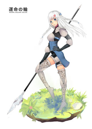 blonde blue_eyes boots braids gloves polearm ravness shorts short_shorts spear tactics_ogre thighhighs white_hair // 1000x1401 // 409.9KB