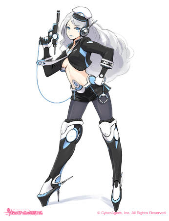 blue_eyes boots gun hat headphones high_heels long_hair shorts short_shorts white_hair // 2000x2600 // 1.1MB