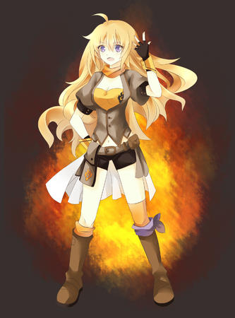 blonde boots gloves long_hair purple_eyes rwby scarf shorts // 2000x2700 // 3.0MB