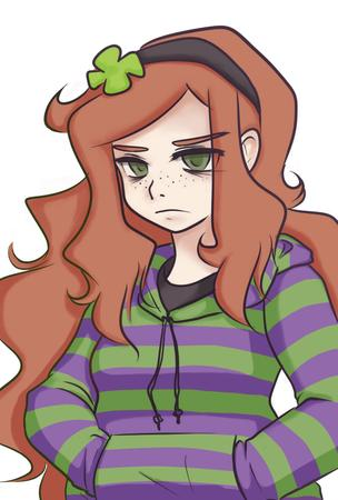 4chan freckles green_eyes long_hair redhead sweatshirt vivian_james // 590x874 // 398.5KB
