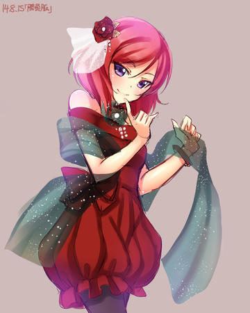 bare_shoulders dress love_live nishikino_maki purple_eyes redhead // 1240x1550 // 302.0KB