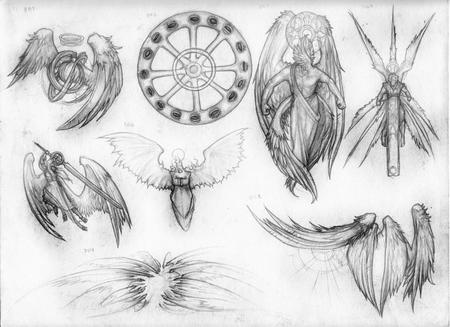 angel bw seraph sketch sword throne wings // 1024x745 // 168.4KB