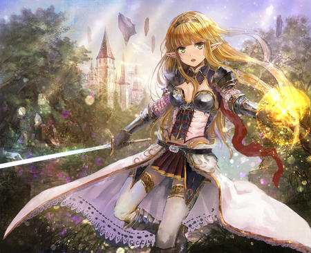 blonde boots elf long_hair short_skirt skirt sword thighhighs // 800x651 // 524.9KB