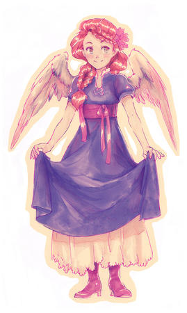 angel boots dress halo redhead wings // 600x1002 // 137.1KB