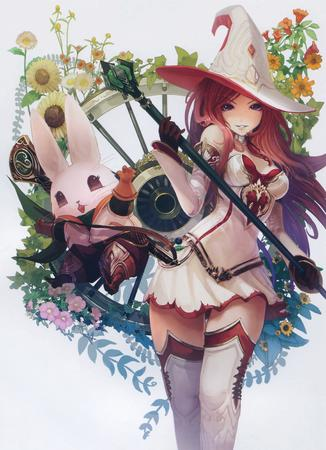bunny flower gloves hat redhead short_skirt skirt staff thighhighs witch wizard // 2537x3500 // 1.5MB