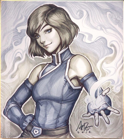 artgerm blue_eyes brunette gloves korra // 887x1000 // 377.3KB