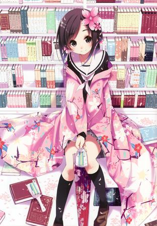 brunette flower kimono library school_uniform seifuku skirt umbrella // 2429x3500 // 2.0MB