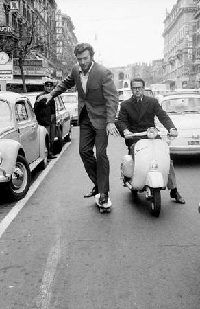 bw clint_eastwood photo scooter skateboard suit vespa // 600x925 // 78.6KB