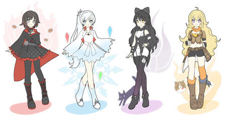 blonde boots brunette cape composite dress gloves long_hair rwby white_hair // 3500x1800 // 2.7MB
