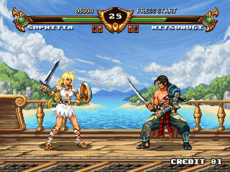 blonde brunette dress katana mitsurugi sandals screenshot shield sophitia soul_calibur sword // 640x480 // 51.9KB
