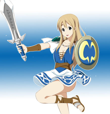 blonde blue_eyes dress k-on sandals shield sophitia soul_calibur sword // 969x1000 // 405.2KB
