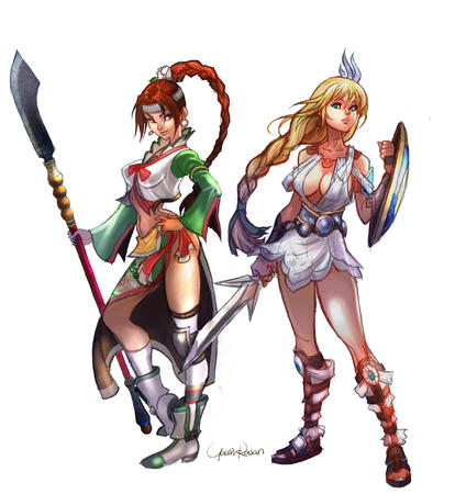 blonde boots braids brunette cleavage dress long_hair naginata polearm sandals shield sophitia soul_calibur sword // 2362x2566 // 2.0MB