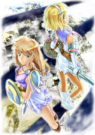 blonde blue_eyes boots braids cassandra cleavage dress gloves long_hair sandals shield sophitia soul_calibur sword // 500x711 // 107.6KB