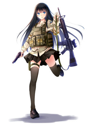 blue_eyes brunette gun long_hair pistol pleated_skirt rifle short_skirt skirt thighhighs // 3897x5826 // 3.1MB