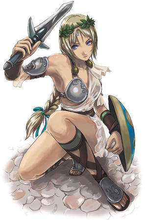 blonde blue_eyes braids crossguard dress laurel long_hair shield sophitia soul_calibur sword // 555x845 // 117.3KB