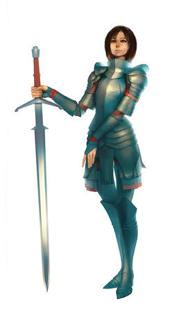 armor brown_eyes brunette crossguard sword // 731x1200 // 239.3KB