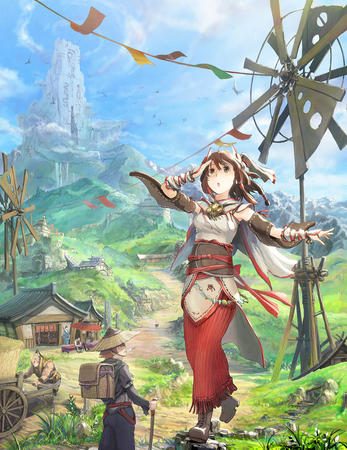 brown_eyes brunette giant long_skirt skirt village windmill // 880x1141 // 1.1MB