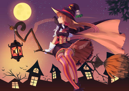 broom cape dress gloves hat lantern moon thighhighs witch // 1637x1158 // 1.4MB