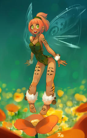 barefoot fairy flower green_eyes redhead wakfu wings // 759x1200 // 192.6KB