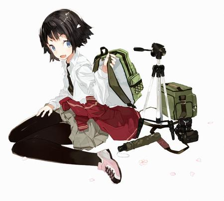 backpack blue_eyes brunette camera pleated_skirt school_uniform short_skirt skirt sweatshirt tripod // 1452x1300 // 393.2KB