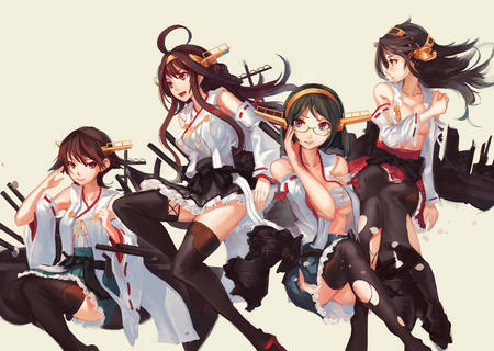 brunette glasses group long_hair open_shirt ripped_clothes short_skirt skirt thighhighs // 1300x925 // 417.6KB