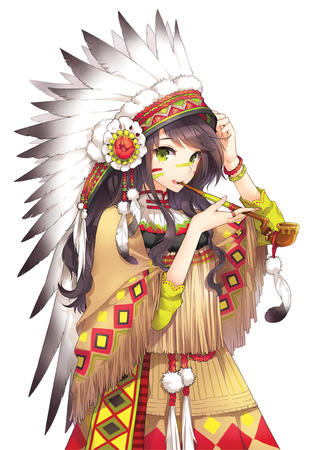 brunette feather green_eyes headdress indian long_hair pipe // 700x1000 // 430.9KB