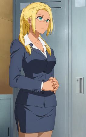 amagi_brilliant_park blonde blue_eyes glasses jacket ponytail screenshot short_skirt skirt // 1440x2280 // 899.4KB
